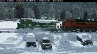 Rare Catch! BNSF Picks up BN Jordan Spreader in Heavy Snow
