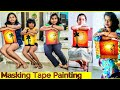 Easy Painting using masking tape to make simple stencil Diy how to paint basics tutorial for kids