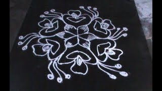 Beautiful Flower Rangoli Design With Dots || Beautiful Muggulu Designs With Dots || Key For Girls