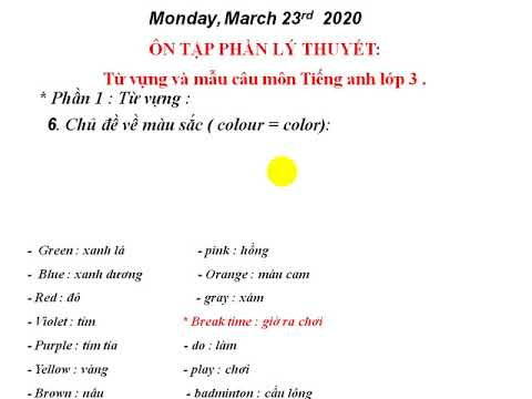 Tiếng Anh 3: Ôn tập từ vựng và mẫu câu - GV: Phạm Trung Kiên - Trường TH Bách Thuận
