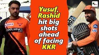 Watch: Yusuf Pathan, Rashid Khan shows their big hitting power at Eden Gardens | IPL 2019