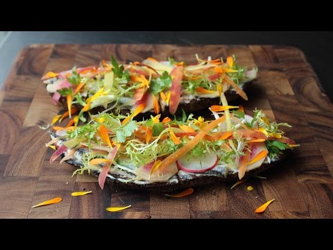 Spring Vegetable Tartine with White Anchovies – Open-faced Vegetable Sandwich with Boquerones