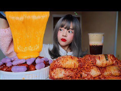 SPICY PURPLE RICECAKES   w/CHEDDAR CHEESE + FIRE KIMCHI WRAPPED NOODLES MUKBANG (messy lol)고구마떡볶이 먹방