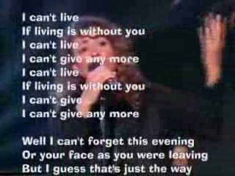 Living without you lyrics
