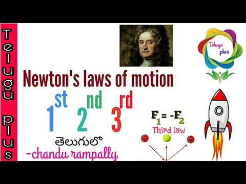 Newton's laws of motion in telugu .1st 2nd 3rd laws