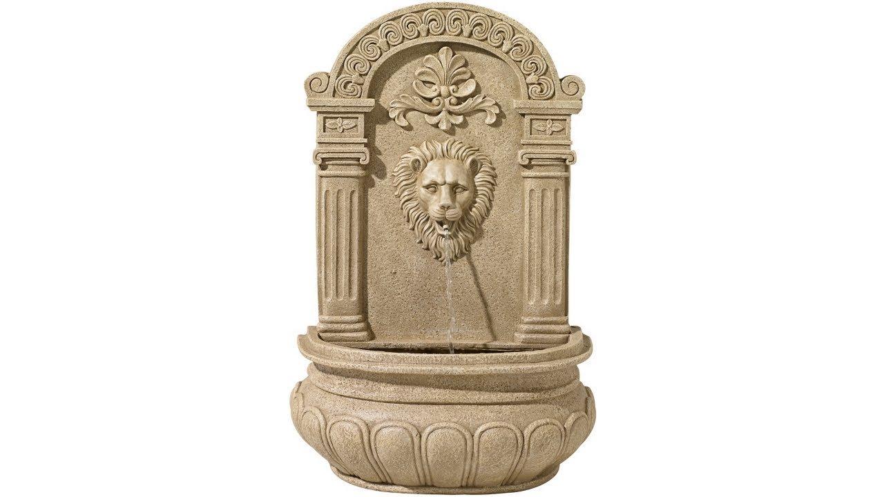 "Lion Face 31"" High Sandstone Finish Wall Fountain"