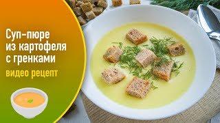 Суп-пюре из картофеля с гренками — видео рецепт