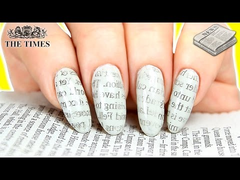NEWSPAPER NAILS HACKS | NEWSPAPER PRINT NAIL ART (WITH WATER & WITHOUT ALCOHOL)