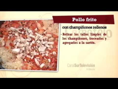 Receta: pollo frito con champiñones rellenos
