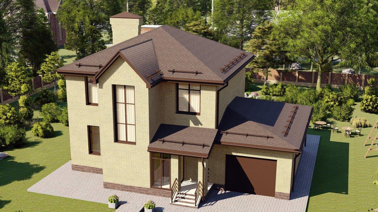 Проект небольшого загородного дома 2 этажа с гаражом на 1 авто 160 м2