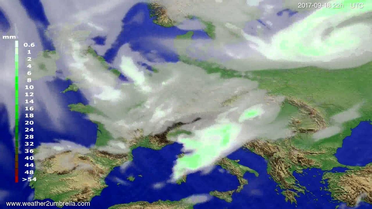 Precipitation forecast Europe 2017-09-16