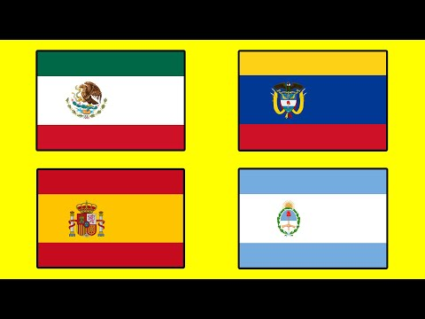 SPANISH SPEAKING COUNTRIES and Their Flags in the Style of Spain