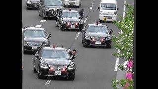 これぞ総理車列❗️SPの証は白手袋❗️箱乗りとマイク広報で他車を近寄らせない鉄壁の守り LS防弾警護車に守られる総理専用車