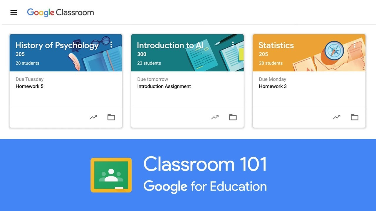 Video of Google Classroom, showing a complete tutorial of the product