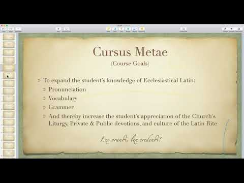 Ecclesiastical Latin Class # 1 - Intro and Pronunciation by Michael Martin