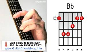 Bb Major - Guitar Chord Lesson - Easy Learn How To Play Bar Chords Tutorial