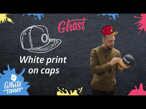White printing on a snap back cap with Toner Transfer