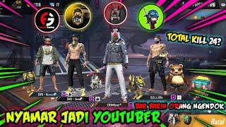 NYAMAR JADI YOUTUBER PAKE BUNDLE FRONTAL GAMING || LETDA HYPER || BUDI 01 GAMING AND CEPCIL!FREEFIRE
