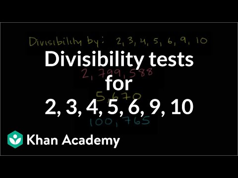 Divisibility Tests For 2 3 4 5 6 9 10 Video Khan Academy