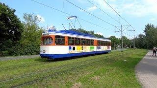 preview picture of video 'Straßenbahn Darmstadt - Sonderverkehr mit ST 7 & Depot Kranichstein (Bahnwelttage 2014)'