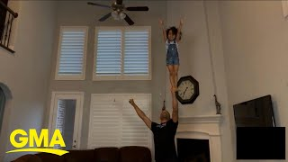 The Internet Is 'flipping Out' Over Father-daughter Duo's Cheerleading Stunts L GMA