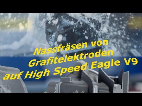 Nassfräsen von Grafitelektroden auf High Speed Eagle V9