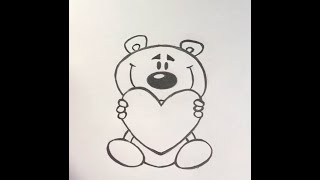 Рисуем Мишку с сердцем Draw a bear with a heart