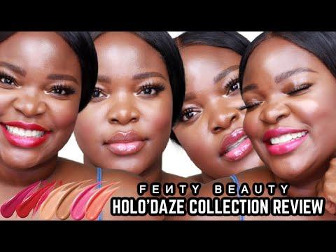 NEW Fenty Beauty Holiday Lip Set Swatches| Lil Stunna + Glossy Posse| Dark Skin | Le Beat