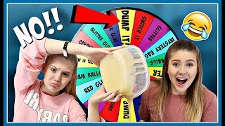 Mystery Wheel of DUMP IT Slime Challenge || Taylor and Vanessa