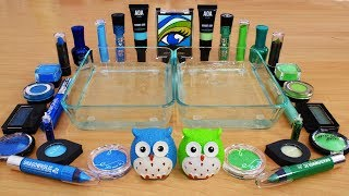 Mixing Makeup Eyeshadow Into Slime ! Blue vs Green Special Series Part 19 Satisfying Slime Video