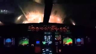 COCKPIT VIEW OF CRAZY A320 LANDING IN STORM