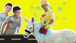 فوزي موزي وتوتي - فوزي موزي يغسل الحمار - fozi washes the donkey