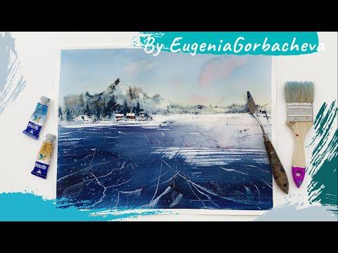 Как нарисовать лед и горы мастихином и акварелью   Акварельная картина