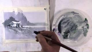 Акварель, Пейзаж одним цветом (часть2)