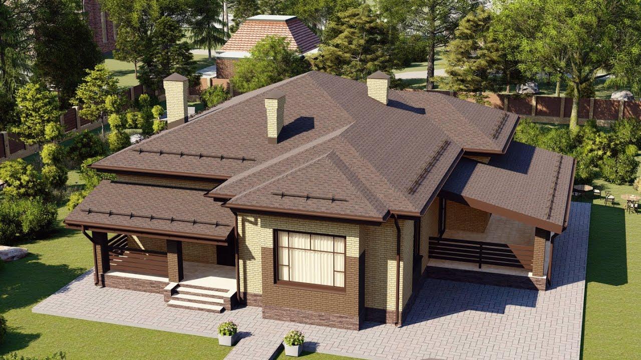 Одноэтажный четырехкомнатный дом с террасой
