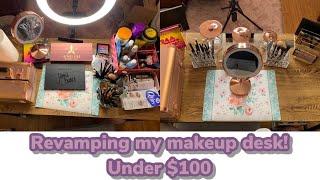 Revamping My Makeup Desk!   Under $100   Rose Gold Makeup Station   #AMAZON