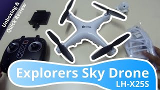 Explorers Sky Drone - LH-X25S | WiFi FPV Camera Aerial RC Drone - Unboxing & Quick Review!