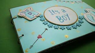 baby boy(blue coloured)scrapbook/journal/handmade album for kids/memory book/birthday scrapbook idea