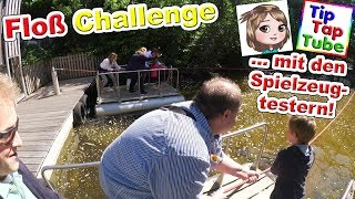 FLOßFAHRT CHALLENGE mit den SPIELZEUGTESTERN im Tolkschau Freizeitpark | TipTapTube