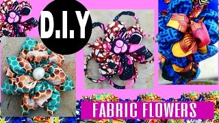 DIY Fabric Flowers African Print 3 TYPES!