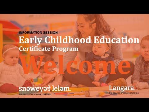 Early Childhood Education, Certificate Program | INFORMATION ...