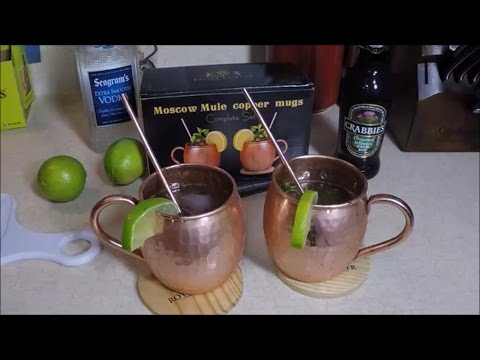 Video Moscow Mule Cocktail in Copper Mugs