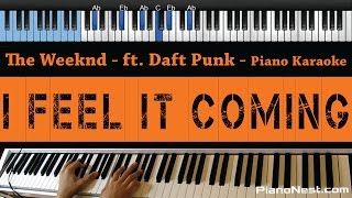 The Weeknd  I Feel It Coming Feat Daft Punk  LOWER Key Piano Karaoke / Sing Along
