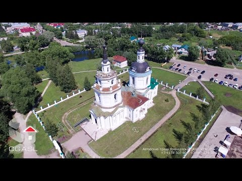 Аэросъемка села Большое Болдино (Успенская церковь, музей А. С. Пушкина)