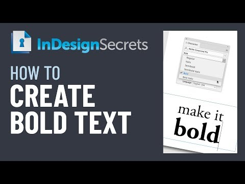 InDesign How-To: Make Bold Text (Video Tutorial)