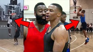 James Harden & Russell Westbrook GO AT IT In First INTENSE Scrimmage! Westbrook At SHOOTING GUARD!