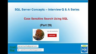 Case Sensitive Search in SQL | SQL Server | Collation Settings | Exact String Search in SQL V29