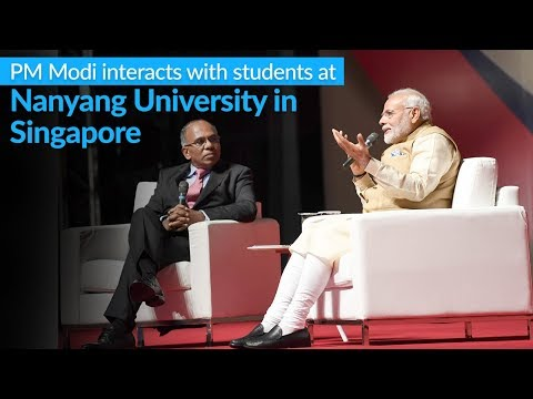 PM Modi interacts with students at Nanyang University in Singapore