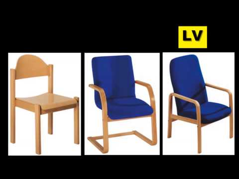 Videos Stuhl,Objektstühle, Konferenzstuhl, Bürostuhl, Hallenstuhl Vierkant