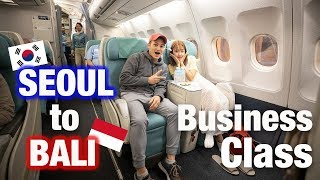 FLYING BUSINESS CLASS FROM SEOUL, KOREA TO BALI, INDONESIA | Korean Air